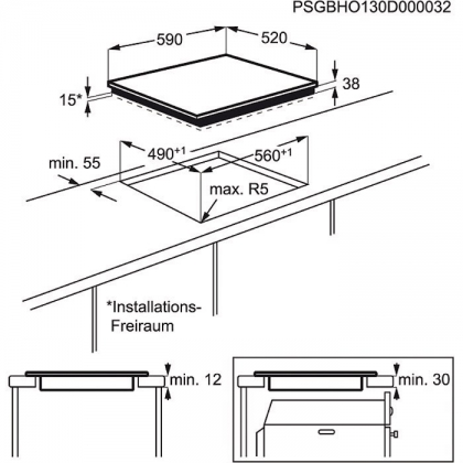 Plita incorporabila vitroceramica Electrolux EHF6241FOK, 60 cm latime, touch control