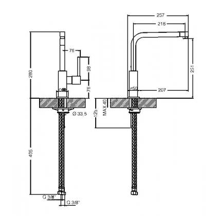 Baterie de bucatarie Smeg MFQ6-IS2, inox mat