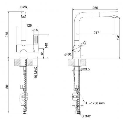 Baterie de bucatarie Smeg MTS15-CR, crom, cap extractibil