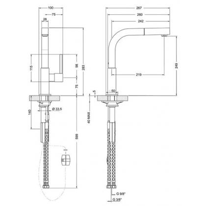 Baterie de bucatarie Smeg MDQ5-CR, crom, cap extractibil