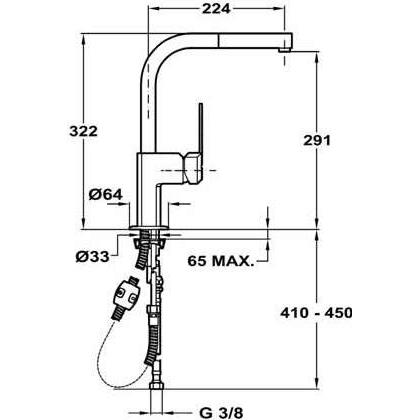 Baterie de bucatarie Teka EXP 998 (MZX Extractibil), crom