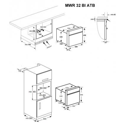Cuptor incorporabil compact microunde si grill Teka MWR 32 BI ATB, antracit
