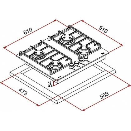 Plita incorporabila pe gaz din cristal Teka CGW Lux 60 4G AI AL TR CI, 60 cm latime
