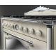 Masina de gatit mixta retro Smeg Cortina CC9GPX, 90 cm latime, crem, estetica argintie