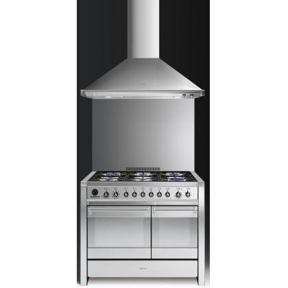 Masina de gatit mixta Smeg Opera A2-8, inox, 100 cm latime, 6 arzatoare, 2 cuptoare