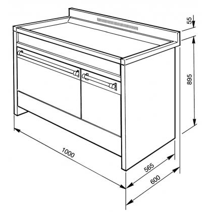 Masina de gatit mixta Smeg Opera A2BL-8, negru, 100 cm latime, 6 arzatoare, 2 cuptoare