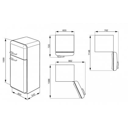 Frigider retro cu 2 usi Smeg FAB30RB1, clasa A++, alb, ventilat