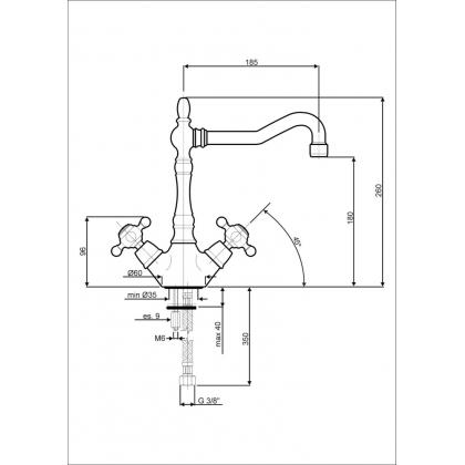 Baterie de bucatarie Smeg MIR8O, retro, alama