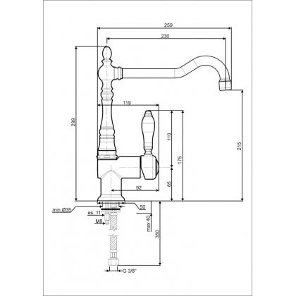 Baterie de bucatarie Smeg MIR6O-2, retro, alama