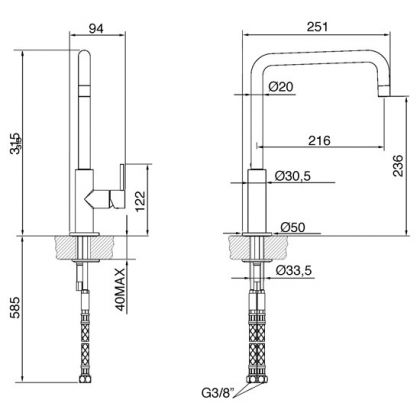 Baterie de bucatarie Smeg MC18T-2, titan