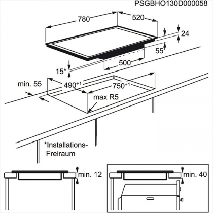 Plita incorporabila cu inductie pe toata suprafata Electrolux EHO8840FOG, 80 cm latime, ecran TFT, functie Bridge