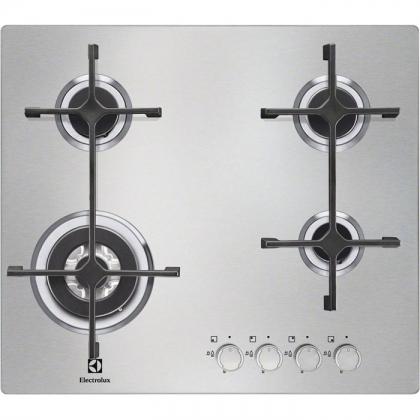 Plita incorporabila pe gaz Electrolux EGS6648NOX, 60 cm latime, inox, Wok, gratare fonta, ultra plata