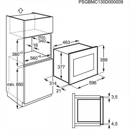 Cuptor incorporabil cu microunde Electrolux EMS20107OX, inox, 800W, 20 l