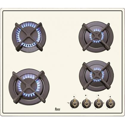 Plita incorporabila vitroceramica pe gaz Teka ER 60 4G AI AL CI IVOIRE, 60 cm, fonta