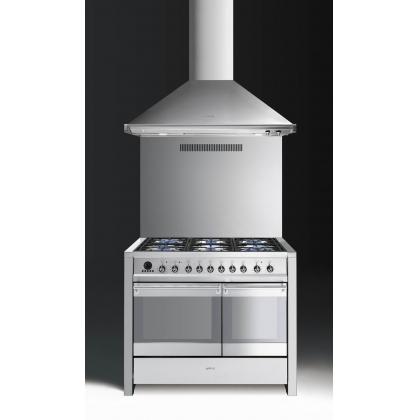 Masina de gatit mixta Smeg Opera A2PY-8, inox, 100 cm, 6 arzatoare, fonta, 2 compartimente cuptor