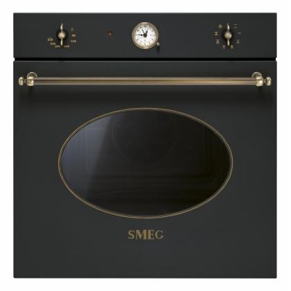 Cuptor incorporabil electric Smeg Colonial SFT805AO, 60 cm, antracit cu estetica alama, retro, Vapor Clean, catalitic