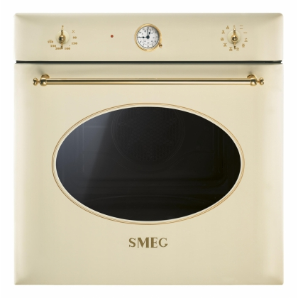 Cuptor incorporabil electric Smeg Colonial SF855P, 60 cm, crem, retro, Vapor Clean