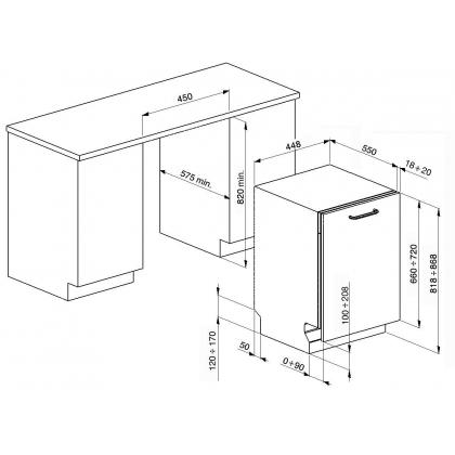 Masina de spalat vase complet incorporabila Smeg STA4523, 45 cm latime, 10 seturi, clasa A++