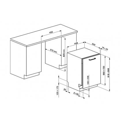 Masina de spalat vase complet incorporabila Smeg STA4526, 45 cm latime, 10 seturi, clasa A++, 10 programe