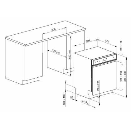 Masina de spalat vase partial incorporabila Smeg PLA6442X2, 60 cm latime, clasa A+++