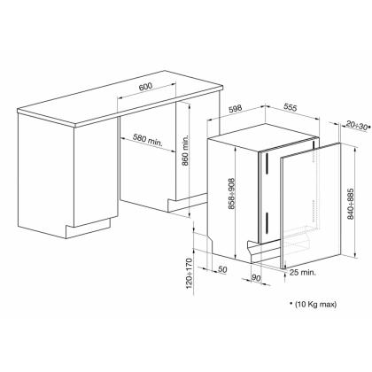Masina de spalat vase complet incorporabila Smeg STLA865A-1, 60 cm latime, clasa A+++