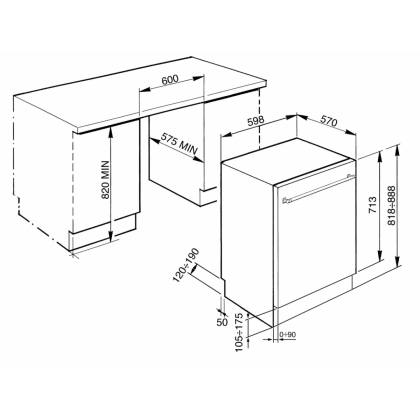 Masina de spalat vase partial incorporabila Smeg STA13XL2, 60 cm latime, clasa A+++, usa din inox