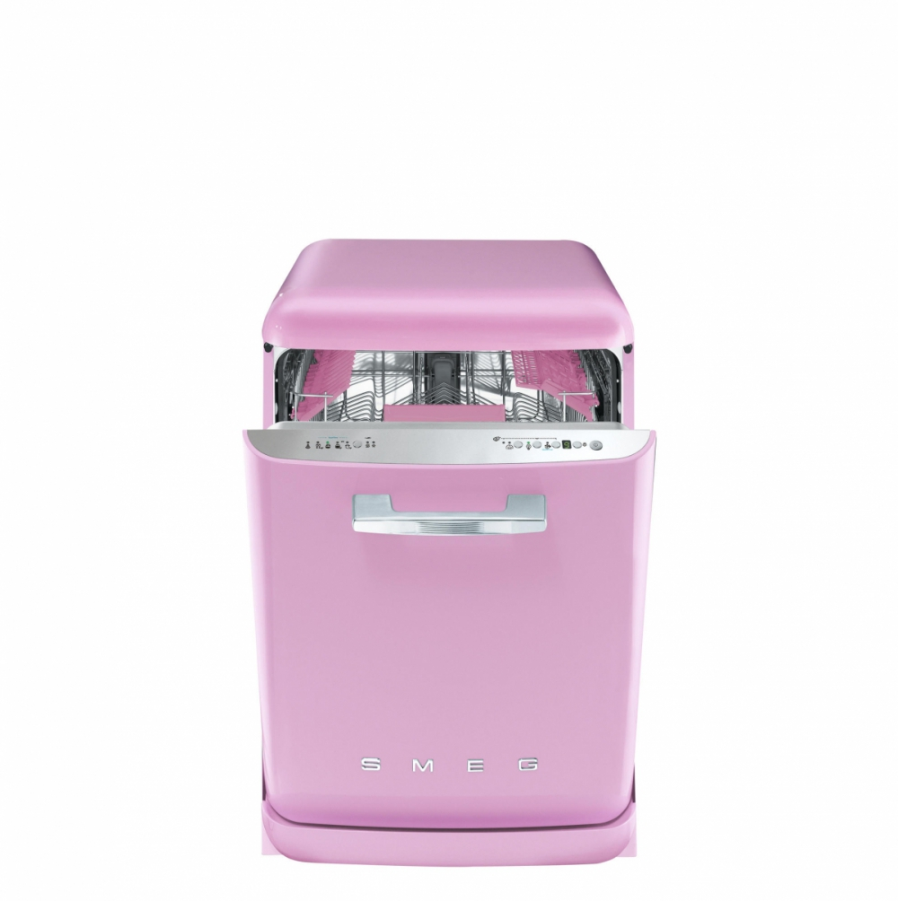 Masina de spalat vase retro Smeg BLV2RO-2 roz clasa A+++ 9 programe