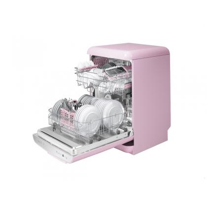Masina de spalat vase retro Smeg LVFABPK, roz, clasa A+++, 9 programe