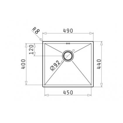 Chiuveta de bucatarie incorporabila sub blat Pyramis TETRAGON 1B, 49 cm, inox periat
