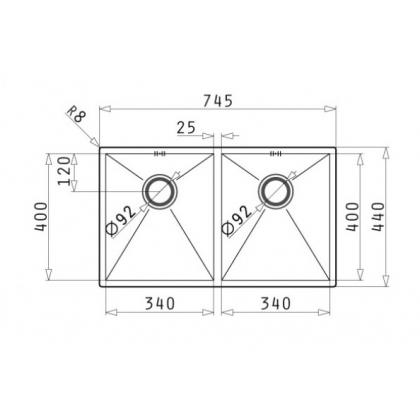 Chiuveta de bucatarie incorporabila sub blat Pyramis Tetragon 2B, 74.5 cm, inox periat