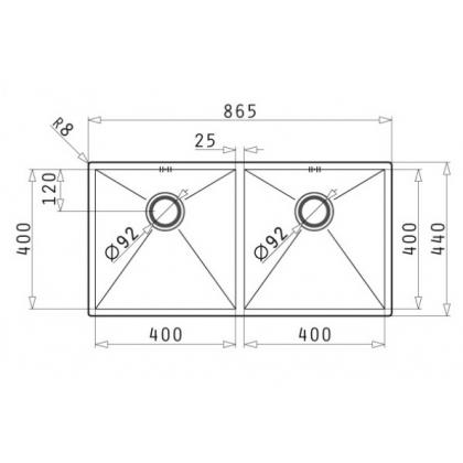 Chiuveta de bucatarie incorporabila sub blat Pyramis Tetragon 2B, 86.5 cm, inox periat