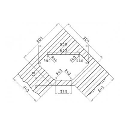 Chiuveta de bucatarie Pyramis MEDUSA CORNER 1B 2D, 95 cm, inox lucios