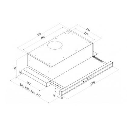 Hota incorporabila telescopica Pyramis Sliding Inox TRC, 60 cm, display, touch control, telecomanda