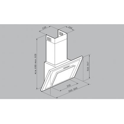 Hota de perete Pyramis Pendia Full Glass, 60 cm, sticla neagra
