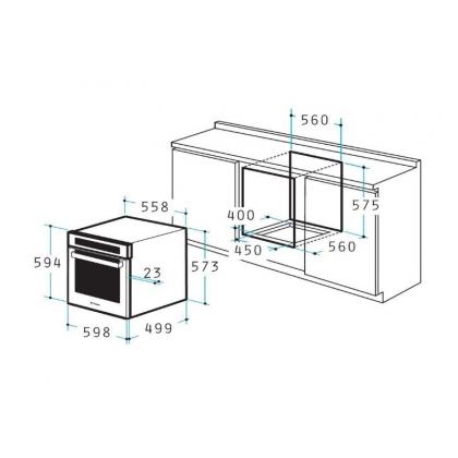 Cuptor incorporabil electric Pyramis 60IN 1080, inox, 56 l, ghidaje telescopice, 8 functii