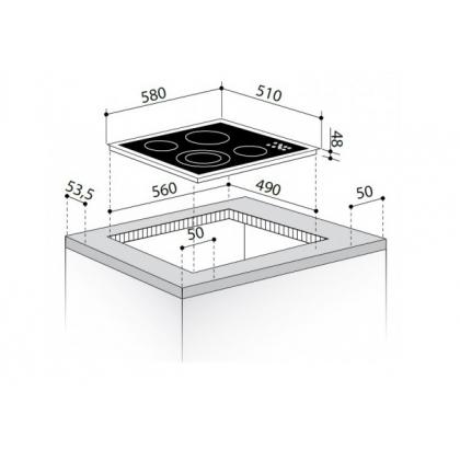 Plita incorporabila vitroceramica electrica Pyramis 58HL 531, 60 cm, Touch Control