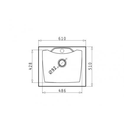 Chiuveta de bucatarie Pyramis Caldera 1B, 61 cm, Metal Aluminium, granit