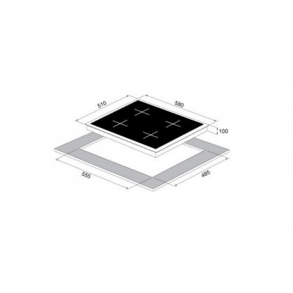 Plita incorporabila vitroceramica pe gaz Pyramis 60CF 473, 60 cm, gratare fonta