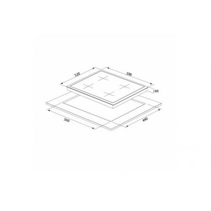 Plita incorporabila pe gaz Pyramis 60CF 475, 60 cm, gratare fonta, inox