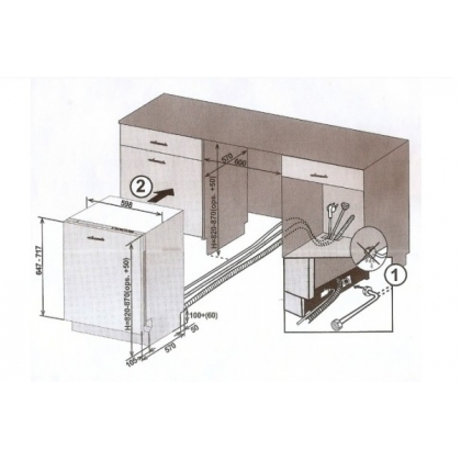 Masina de spalat vase complet incorporabila Pyramis LSN60FI, 60 cm, clasa A+, 4 programe