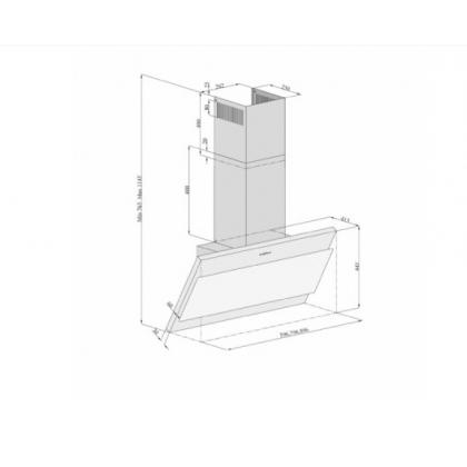 Hota de perete Pyramis Attento, 60 cm, absorbtie perimetrala
