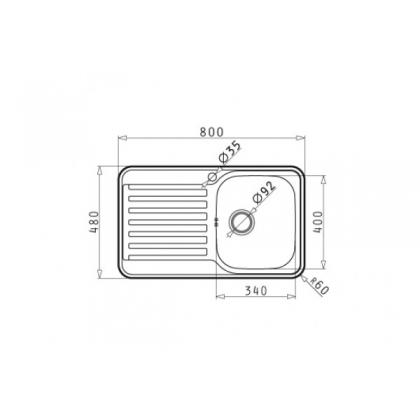 Chiuveta de bucatarie Pyramis SPACE MINI 1B 1D LN DR, 80 cm, inox microtexturat, cuva dreapta