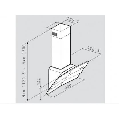 Hota de perete Pyramis Design Intenso, 90 cm, inox