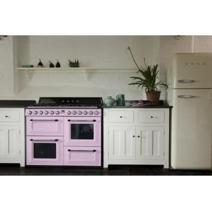 Masina de gatit Smeg Victoria TR4110RO, retro, roz, arzator Wok, 3 cuptoare, 110 cm latime