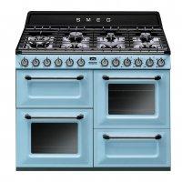 Masina de gatit Smeg Victoria TR4110AZ, retro, albastru, arzator Wok, 3 cuptoare, 110 cm latime