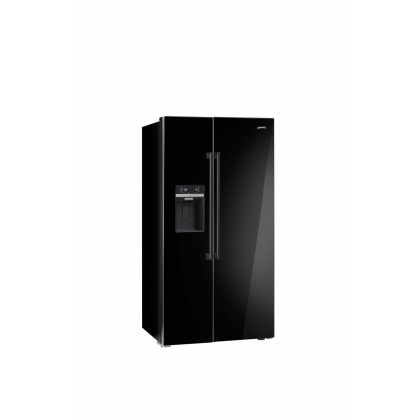 Frigider Side by Side Smeg SBS63NED, 90 cm, negru lucios, No Frost, clasa A+, Ice Maker