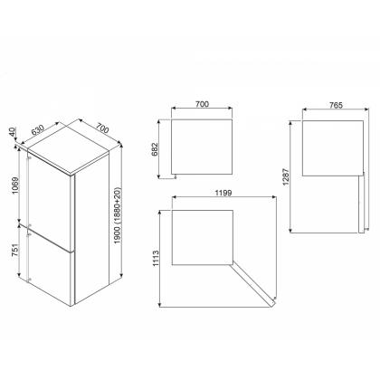 Combina frigorifica retro Smeg FA8003P, 70 cm, crem, manere aurii, clasa A+, No Frost