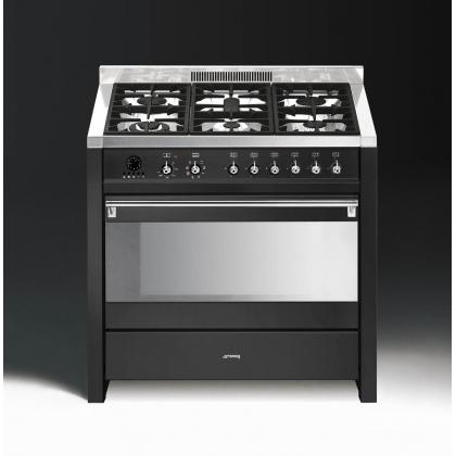 Masina de gatit mixta Smeg Opera CS19A-7, antracit, estetica argintie, 90 cm latime, 6 arzatoare