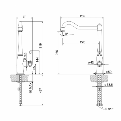 Baterie de bucatarie Smeg Cortina MCO23-CR, crom