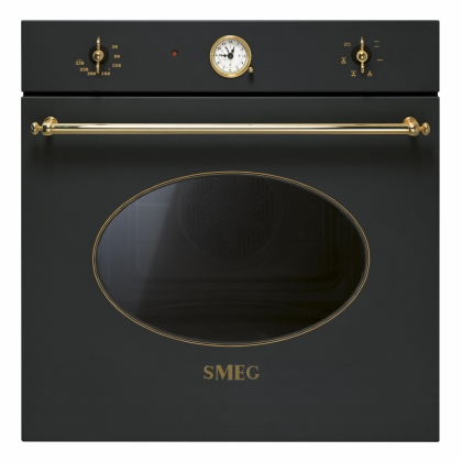 Cuptor incorporabil electric Smeg Colonial SF800A, antracit cu estetica aurie, 60 cm, retro